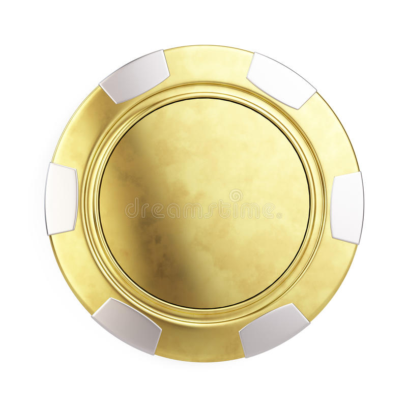 Vorderansicht des Goldkasinochips lokalisiert auf Weiß lizenzfreie abbildung