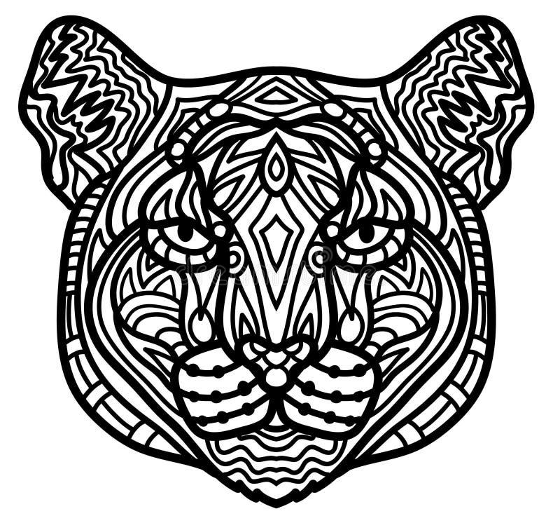 Vorderansicht des handgemalten Pumas mit bunten Verzierungen vector Illustration stock abbildung