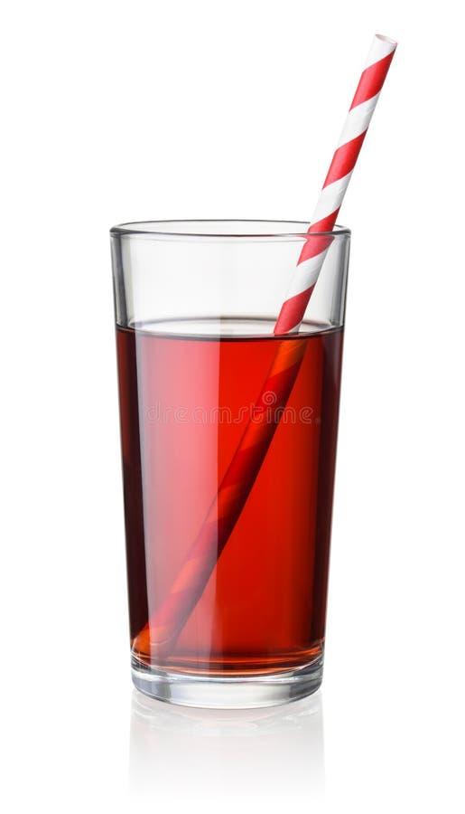 Vorderansicht des Kirschsaftglases mit Stroh lizenzfreies stockfoto