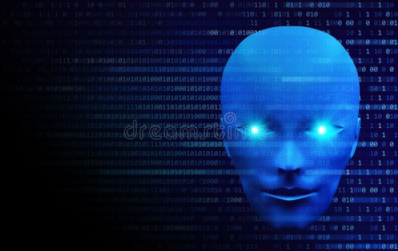 Vorderansicht des menschlichen Kopfes mit binär Code Modell lokalisiert auf Blauem vektor abbildung