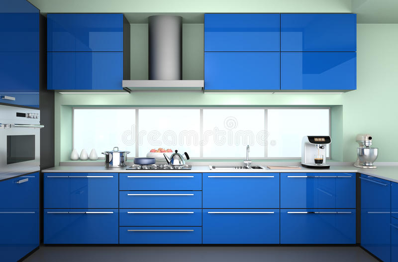 Vorderansicht des modernen Kücheninnenraums mit stilvoller Kaffeemaschine, Lebensmittelmischer stockbilder