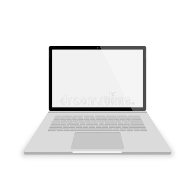 Vorderansicht des realistischen grauen Laptops Vektorillustrationen lokalisiert auf weißem Hintergrund Laptop mit leerem scrin stock abbildung