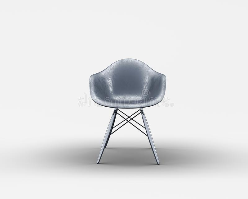 Vorderansicht des schwarzen dinning Stuhls mit den Metallbeinen vektor abbildung