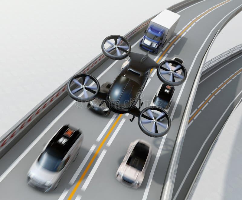 Vorderansicht des schwarzen Passagierbrummens, das über Autos im Stau des starken Verkehrs fliegt stock abbildung