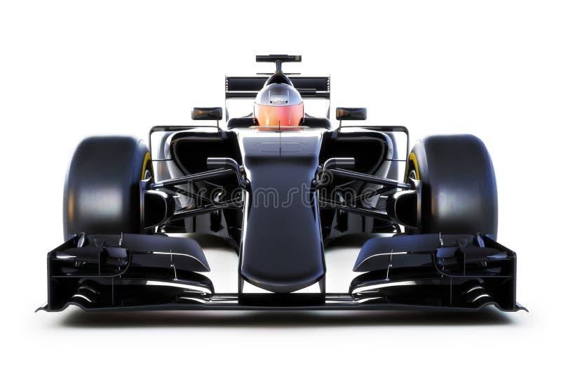 Vorderansicht des schwarzen Rennwagens über ein Weiß lokalisierte Hintergrund Generische Wiedergabe 3d lizenzfreie abbildung