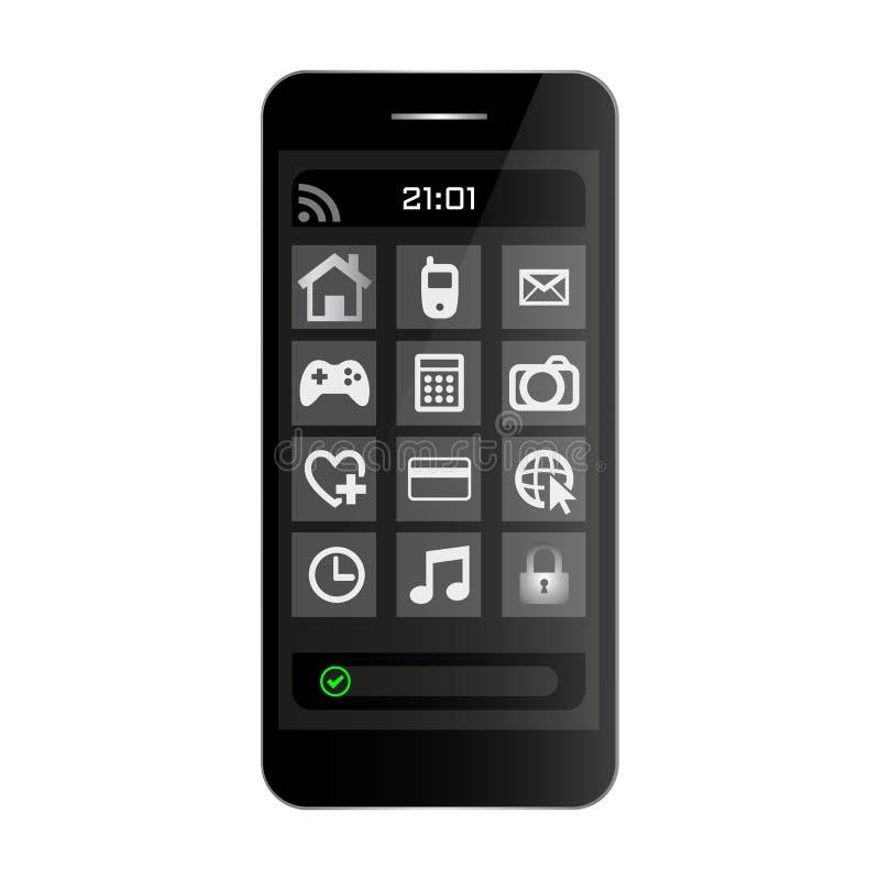 Vorderansicht des schwarzen Smartphonehandys mit Menü auf Schirm und Uhr Smartphone-Schwarzfarbe auf weißem bckground Vektor eps1 lizenzfreie abbildung
