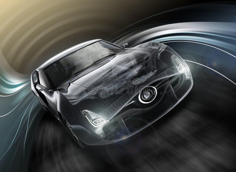 Vorderansicht des stilvollen schwarzen Sportautos mit Drahtrahmen lizenzfreie abbildung