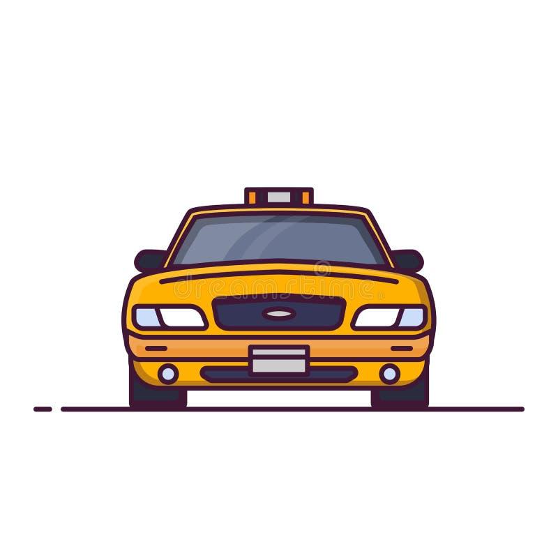 Vorderansicht des Taxiautos lizenzfreie abbildung