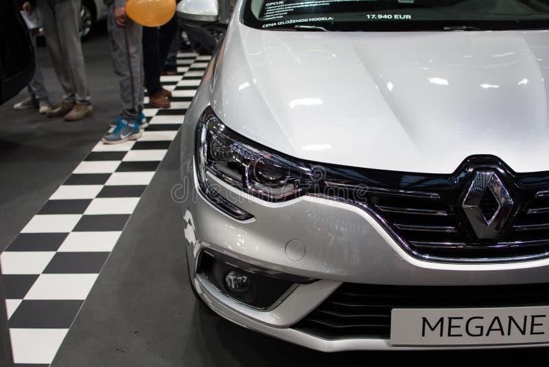 Vorderansicht neuen Renault Megane-Autos auf Belgrad-Autoshow stockbild