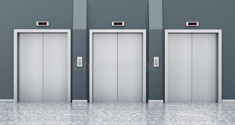Vorderansicht von Aufzugstüren auf dem Korridor Abbildung 3D lizenzfreie abbildung