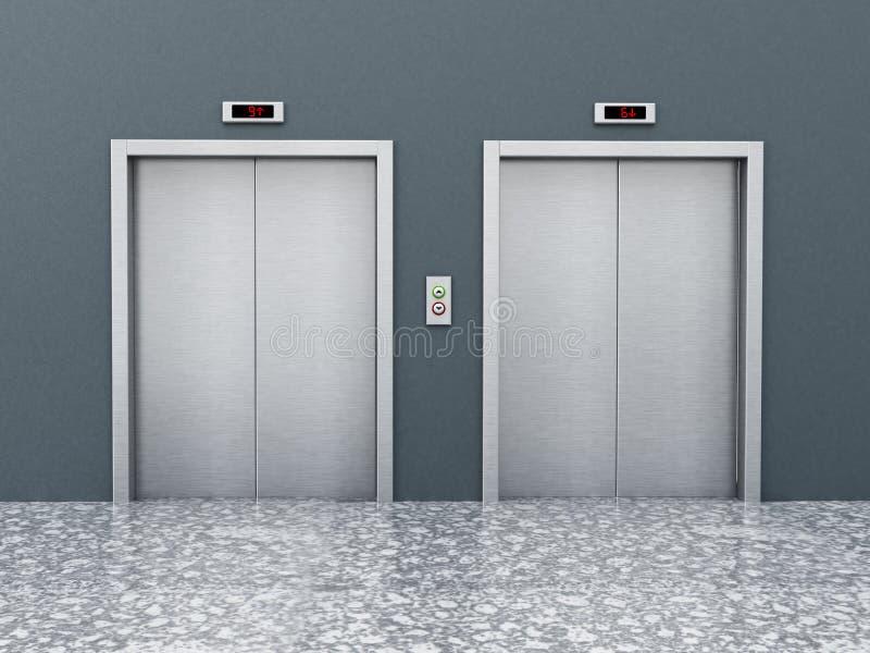 Vorderansicht von Aufzugstüren auf dem Korridor Abbildung 3D stock abbildung
