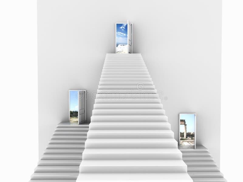 Vorderansicht von drei weißen Treppen, die aufkommen, um sich zu öffnen vektor abbildung