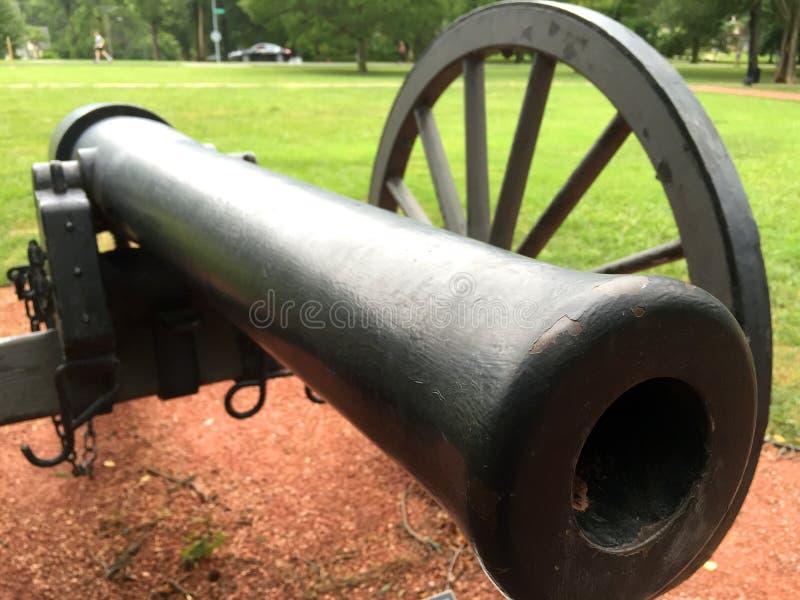 Vorderansichtabschluß der Bürgerkrieg-Kanone oben stockbild