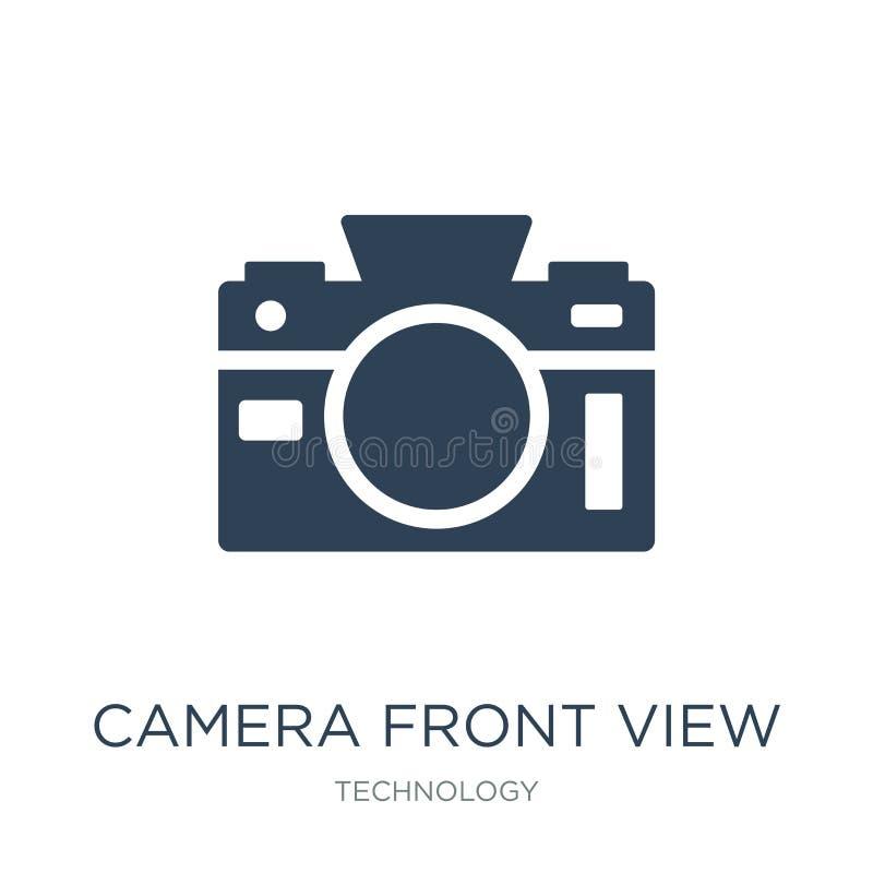 Vorderansichtikone der Kamera in der modischen Entwurfsart Vorderansichtikone der Kamera lokalisiert auf weißem Hintergrund Vorde lizenzfreie abbildung