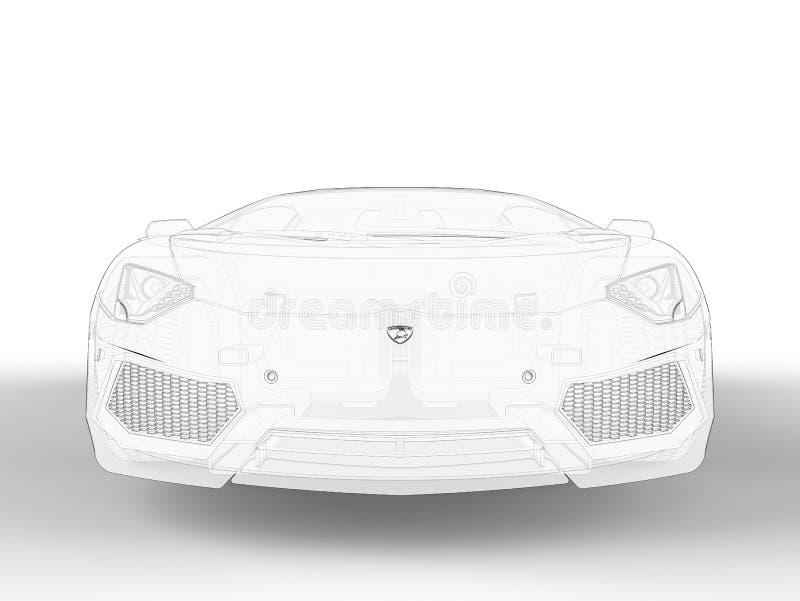 Vorderansichtskizze Lamborghini Aventadors vektor abbildung