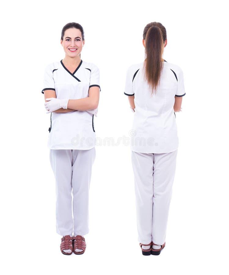 Vordere und hintere Ansicht der Ärztin lokalisiert auf Weiß lizenzfreies stockbild