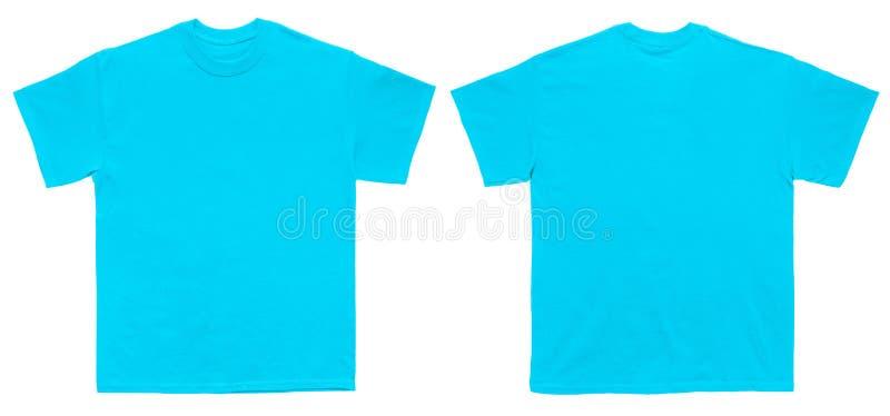Vordere und hintere Ansicht der leeren T-Shirt Farbhimmelblau-Schablone lizenzfreie stockfotos