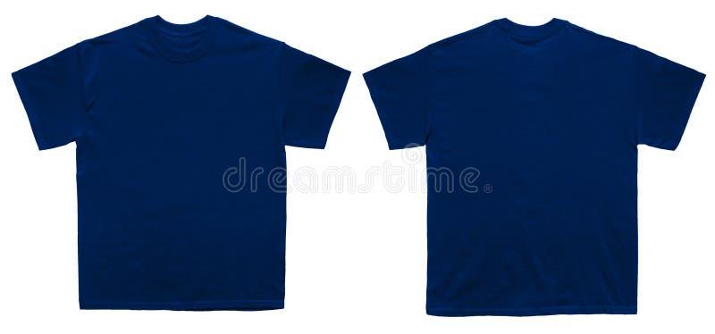 Vordere und hintere Ansicht der leeren T-Shirt Farbmarine-Schablone stockfoto