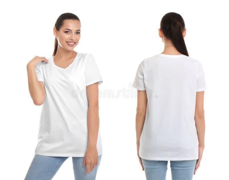 Vordere und hintere Ansichten der jungen Frau im leeren T-Shirt lizenzfreies stockbild