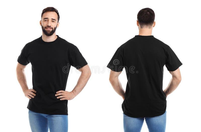Vordere und hintere Ansichten des jungen Mannes im schwarzen T-Shirt lizenzfreie stockfotos
