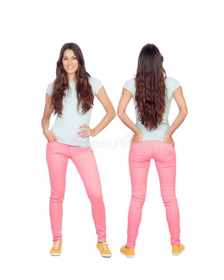 Vordere und hintere Ansichten eines teenger Mädchens mit dem langen Haar stockfoto