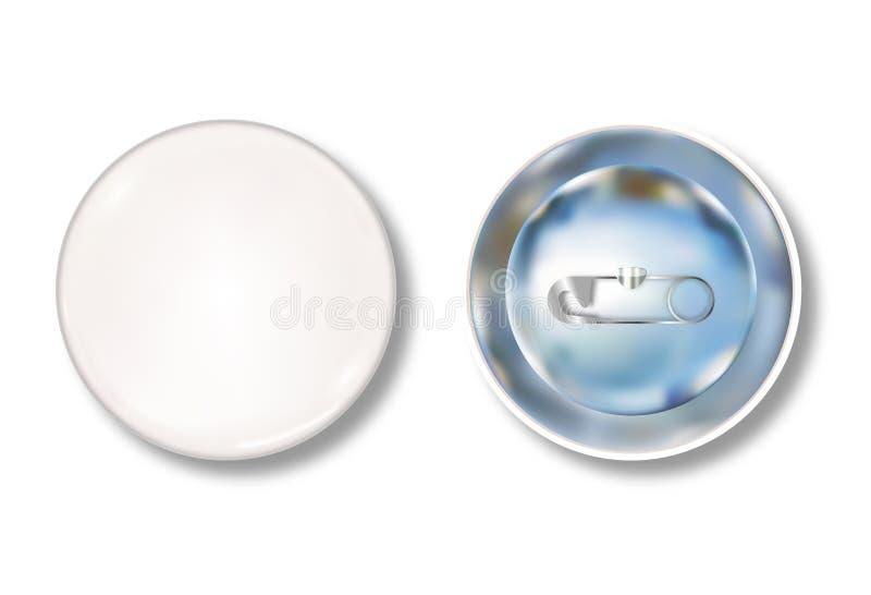 Vordere und Rückseite des weißen Stiftknopfes stock abbildung