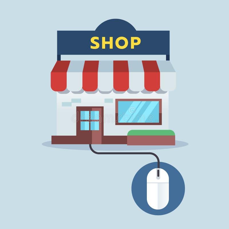 Vorderer Shop schließen an Maus, on-line-Einkaufskonzept an stock abbildung