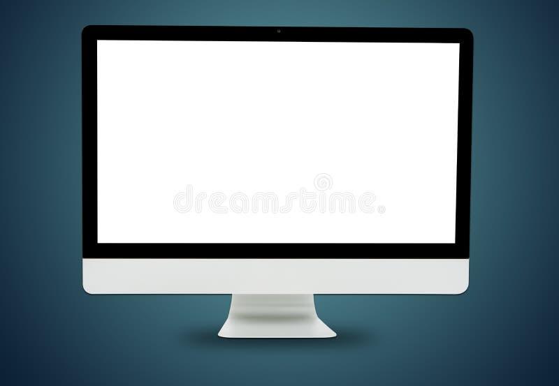 Vorderer weißer Computermonitor lizenzfreie abbildung