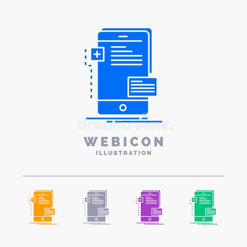 Vorderseiten, Schnittstelle, Mobile, Telefon, Entwickler 5 Farbeglyph-Netz-Ikonen-Schablone lokalisiert auf Weiß Auch im corel ab vektor abbildung