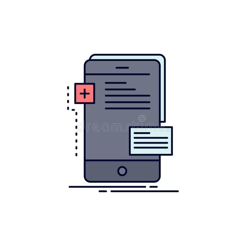 Vorderseiten, Schnittstelle, Mobile, Telefon, Entwickler flacher Farbikonen-Vektor vektor abbildung