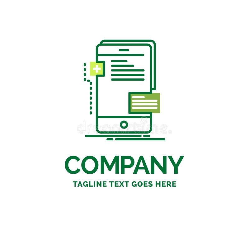 Vorderseiten, Schnittstelle, Mobile, Telefon, Entwickler flaches Geschäfts-Logo stock abbildung