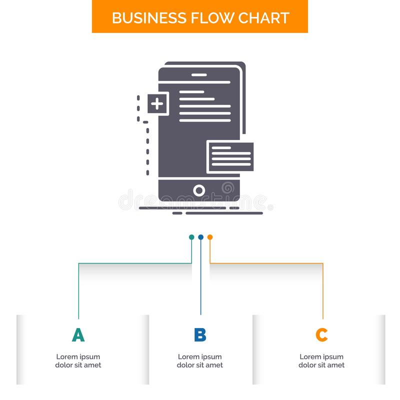 Vorderseiten, Schnittstelle, Mobile, Telefon, Entwickler Geschäfts-Flussdiagramm-Entwurf mit 3 Schritten Glyph-Ikone f?r Darstell lizenzfreie abbildung