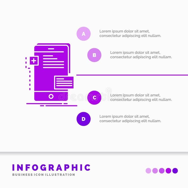 Vorderseiten-, Schnittstelle, Mobile, Telefon, Entwickler Infographics-Schablone für Website und Darstellung Purpurrote Ikone des lizenzfreie abbildung