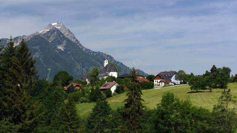Vorderstoder, Totes Gebirge, Oberosterreich, Austria. Mountain village Vorderstoder with Kleiner Priel and Schwarzkogel peaks in Totesgebirge mountains in Upper royalty free stock photo