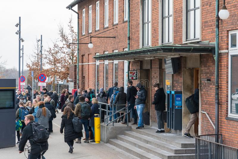 Passengers waiting for the bus in front of Vordingborg train station royalty free stock images