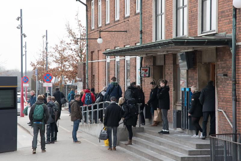Passengers waiting for the bus in front of Vordingborg train station stock photo