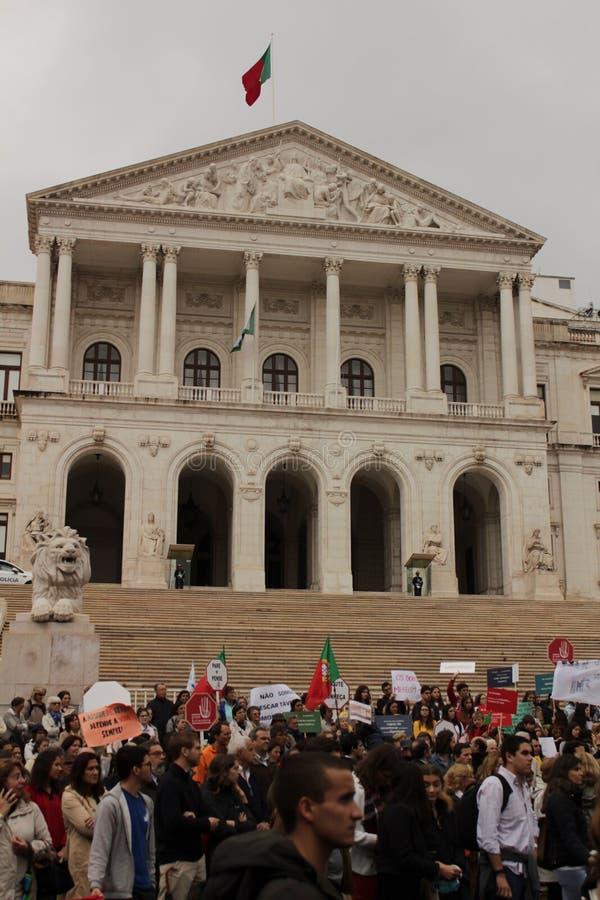 Vorführer, die mit Plakaten gegen Euthanasie in Lissabon protestieren lizenzfreie stockfotos