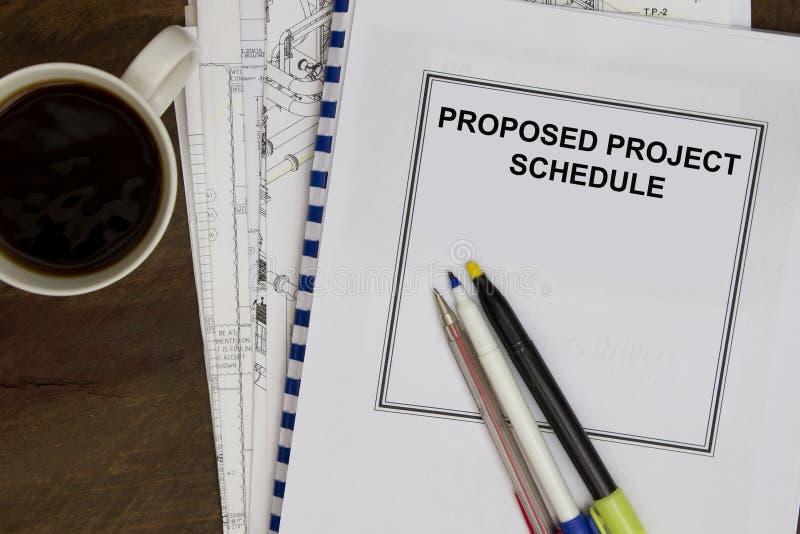 Vorgeschlagener Projektzeitplan lizenzfreies stockfoto