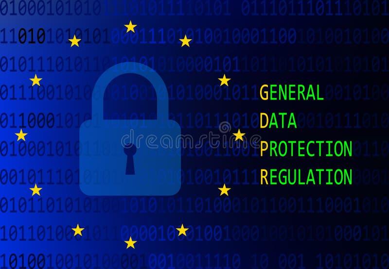 Vorgeschriebenes Zeichen des Generaldatenschutzes stock abbildung