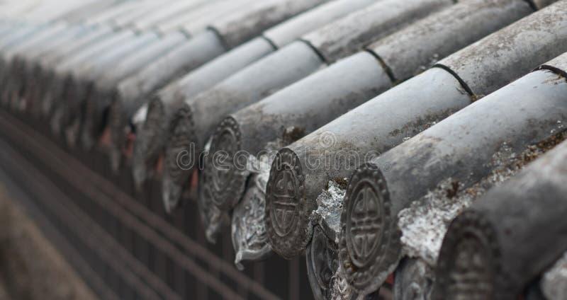 Vorgewählter Fokus des chinesischen traditionellen mit Ziegeln gedeckten Dachs für Hintergrund stockfotografie