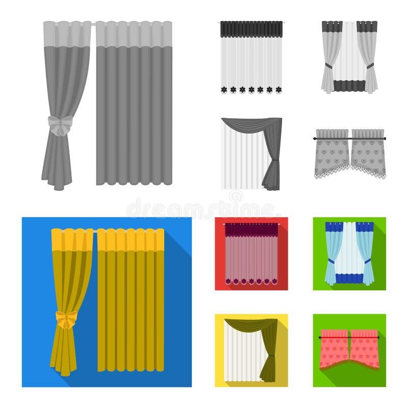 Vorhänge, drapiert, Strumpfbänder und andere Netzikone in der einfarbigen, flachen Art Gewebe, Möbel, Bogenikonen in der Satzsamm lizenzfreie abbildung