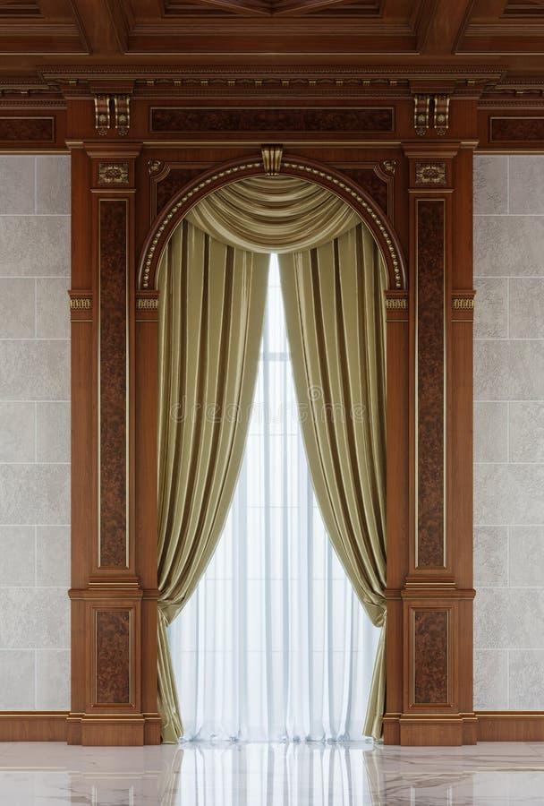 Vorhänge in einer geschnitzten Nische des Holzes in einer klassischen Art lizenzfreies stockbild