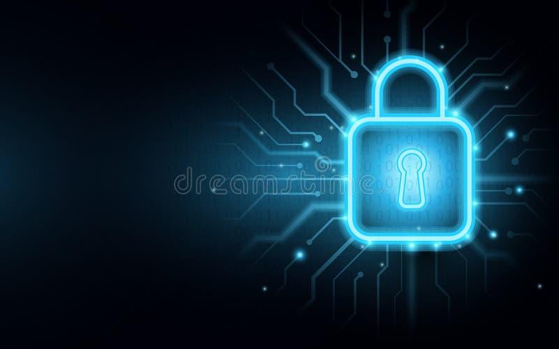 Vorhängeschloß auf Leiterplatte mit Internetsicherheitshintergrund stock abbildung