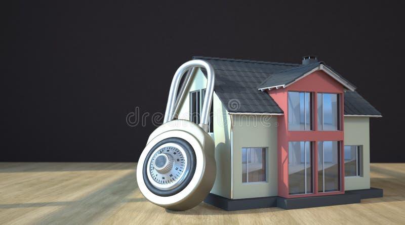 Vorhängeschloß mit Haus lizenzfreie abbildung