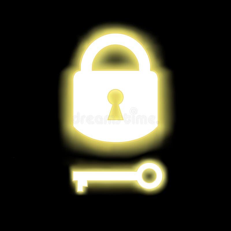 Vorhängeschloß zugeschlossen und Schlüssel mit Schimmer stock abbildung