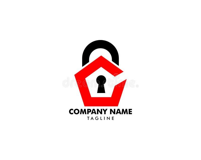 Vorhängeschloss-Ikonen-Vektor Logo Design Template lizenzfreie abbildung
