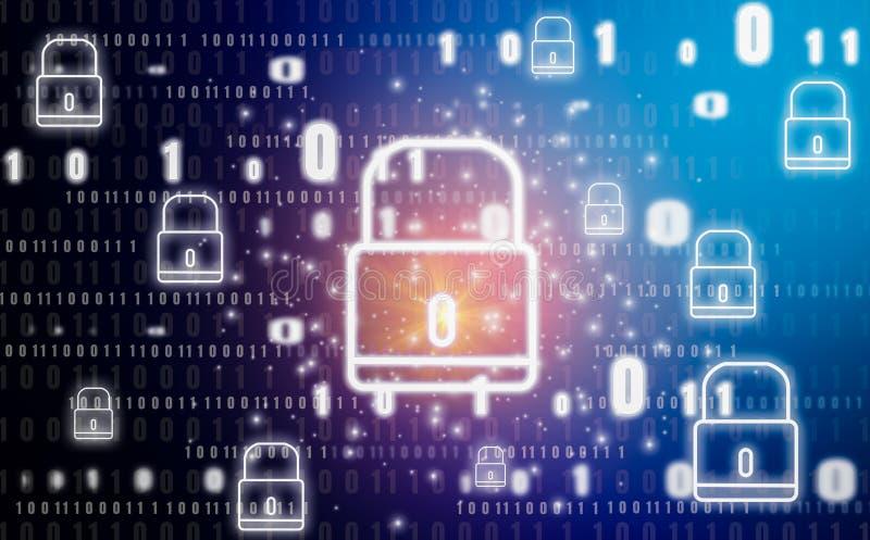 Vorhängeschlossgraphik und -symbol, abstrakter Begriff mit Technologieschutz des digitalen Identitätsdiebstahles und -privatleben vektor abbildung