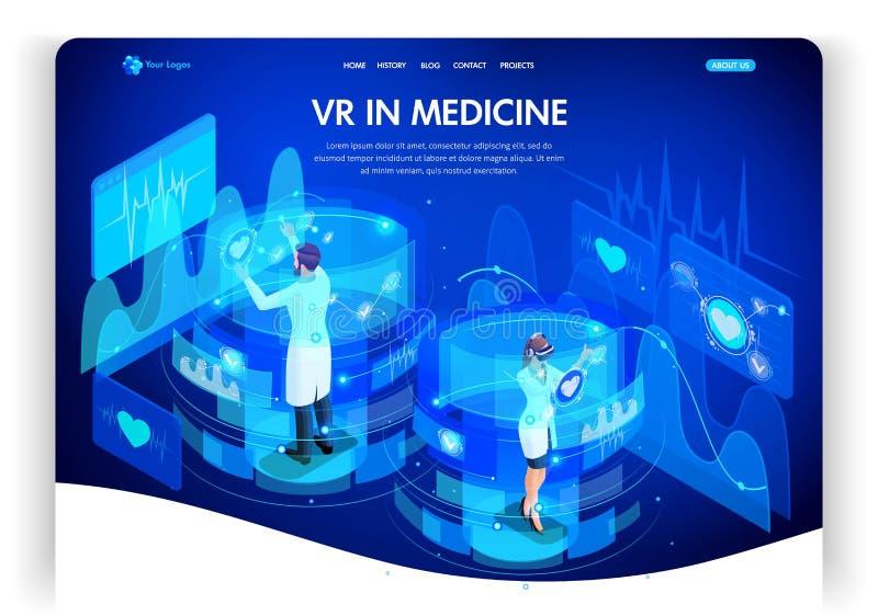 Vorhanden in den Formaten JPEG und eps8 Arbeiten isometrisches Konzept vergrößerte Wirklichkeit für Medizindoktoren an virtuellen stock abbildung