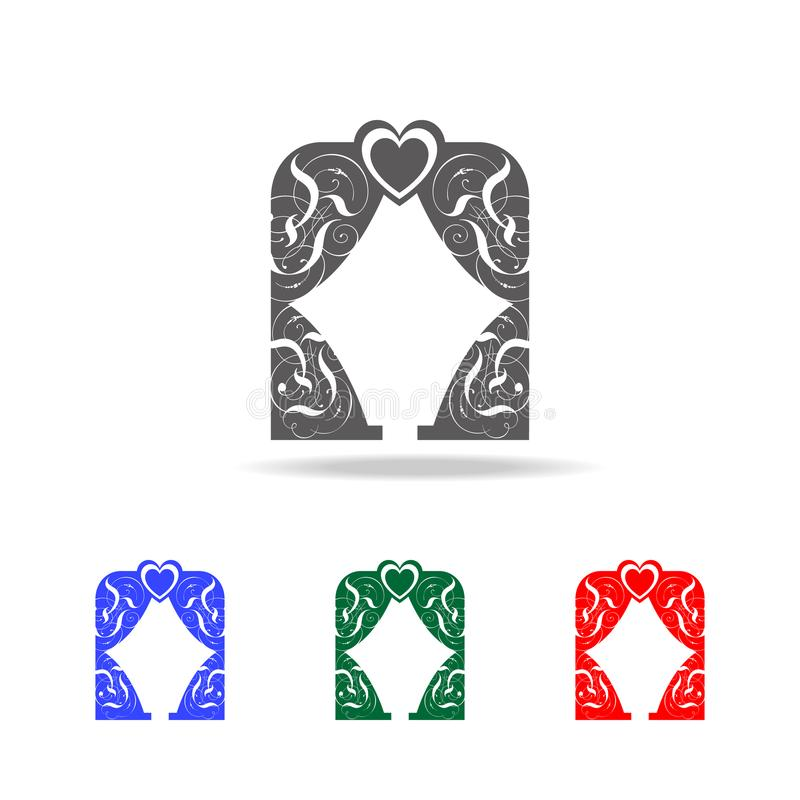 Vorhang mit Herzen kopiert Ikone Elemente des Valentinsgrußes \ 'des s-Tages in den multi farbigen Ikonen Erstklassige Qualitätsg vektor abbildung