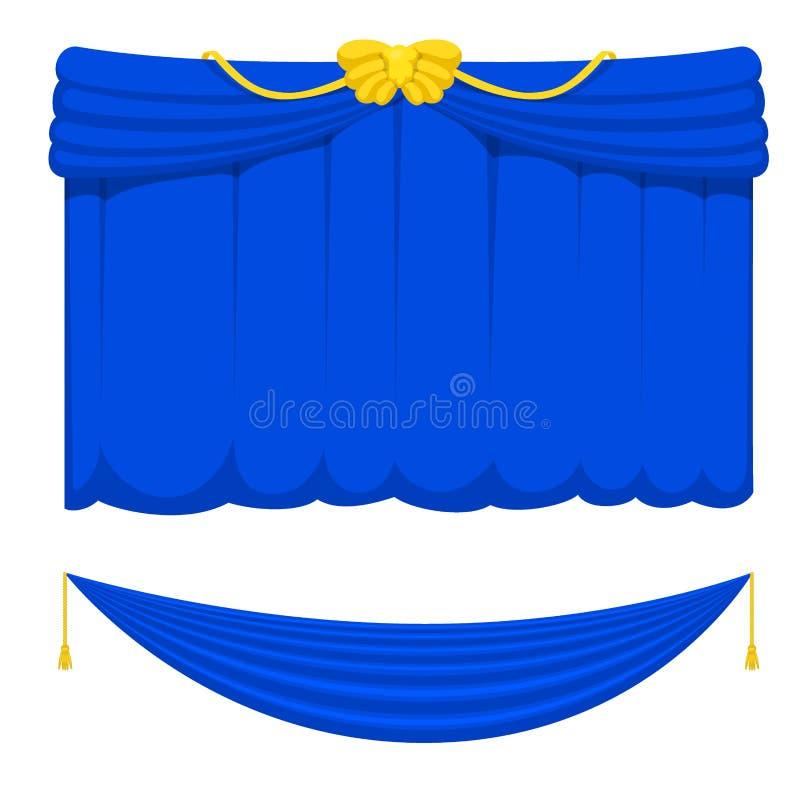 Vorhangstadiumsgewebebeschaffenheitsleistung der Theaterszenenvorhänge stoff-Eingangshintergrund der blauen lokalisierte Innenvek vektor abbildung